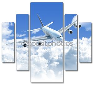 самолет пролетел над передней вид сверху облака