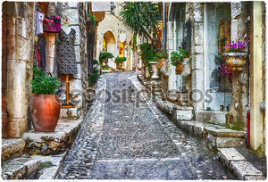 очаровывая старые улицы деревень Прованса, Франция, артистического pctu