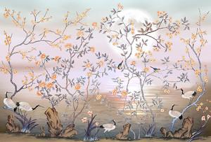 Журавли в цветущих кустах