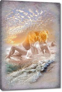 Пара на берегу, абстракция