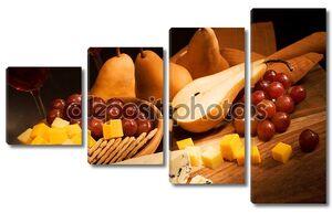 Натюрморт с сыром и грушей