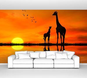 Жирафа и жирафенок