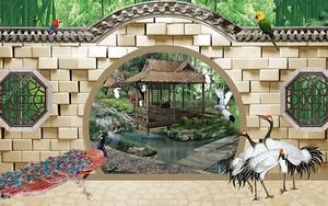 Терраса в саду, павлин, аисты и беседка