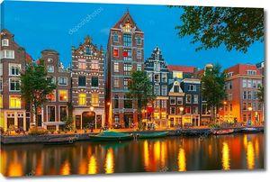 Ночной вид города Амстердам