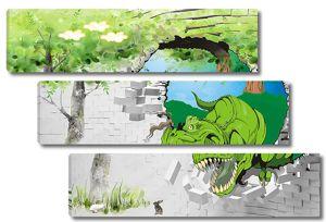 Рисованный динозавр из стены