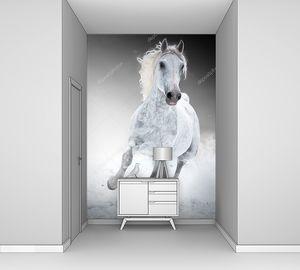 Белая лошадь зимой