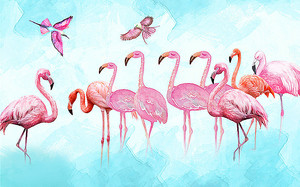 Фламинго и колибри