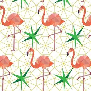Полигональный фон с фламинго