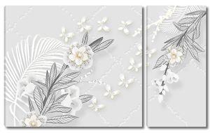 Композиция из цветов и бабочек