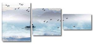 Птицы над лодкой на озере