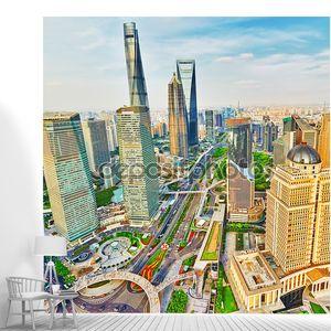 Небоскребы, город здание Пудун, Шанхай, Китай