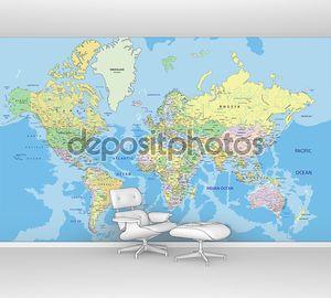 политическая карта мира с маркировки.
