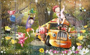 Веселый школьный автобус в сказочном лесу