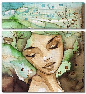 Прекрасная девушка нарисованная акварелью
