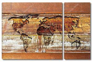 Карта мира на текстуре дерева