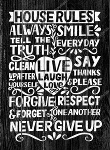 Рука буквы цитата Дом Правила со словами Live, смех, любовь на черном фоне