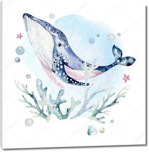Голубой акварельный кит