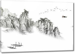 Лодки у скального берега