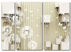 Кубики, белые одуванчики, белые бумажные бабочки