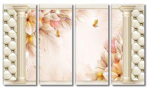 Нежные цветы в проеме из колонн