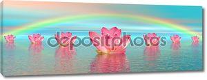 Цветы лилии под радугой