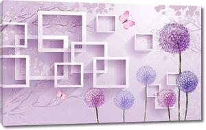 Разноцветные одуванчики, розовые бабочки