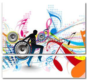 Абстрактный фон с музыкальными нотами