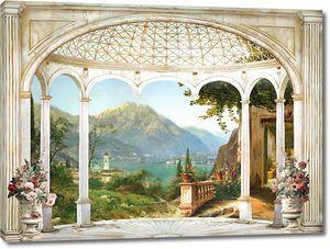 Прекрасная терраса с колоннами