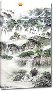 Склон из водопадов