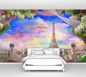 Вид на Париж с балкона с цветами