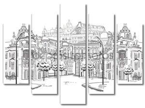 Серия эскизов красивый старый город просмотров