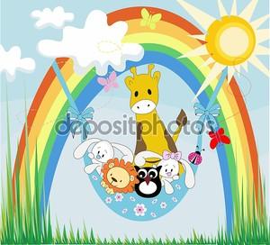 Baby животных на радуге