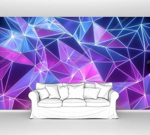 3d рендеринг, неоновая кристаллизованная подложка, смятые блестящие обои, полигональная сетка, ультрафиолетовый свет, граненая металлическая текстура с отражениями