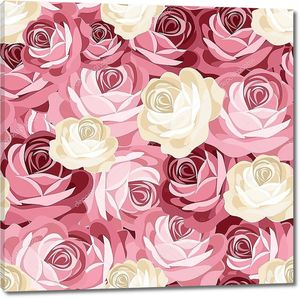 Бесшовный фон с розовыми и белыми розами. Векторные иллюстрации