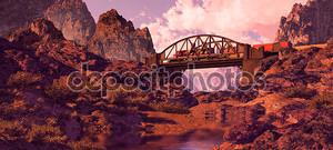 Стальные арочный мост и дизель