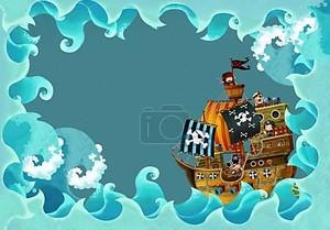 Художественные мультфильм кадр волны с пиратский корабль