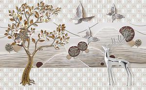 Серебряный олень с плиткой