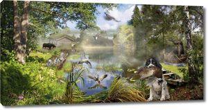 Разнообразные животные в лесу, охота