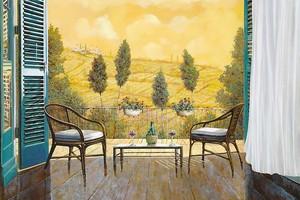 Столик со стульями на веранде
