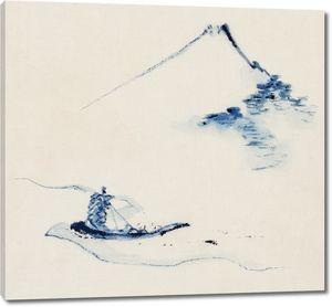 Человек в маленькой лодке на реке на фоне горы Фудзи