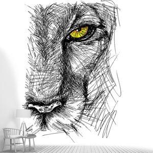 Руки drawn эскиз Льва пристально смотрит в камеру