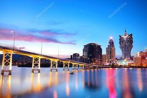 городской пейзаж Макао Макао мост и небоскреб, Азия.