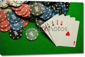 Игра четыре вида карты и фишки на зеленом фоне