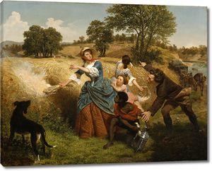 Лойце Эмануэль.  Госпожа Шейлер, сжигающая свои поля пшеницы при приближении англичан