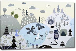 Медведь и лоси в аппликационном лесу