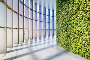 Офисное здание с большими панорамными окнами и вертикальным зеленым садом. 3D иллюстрация .