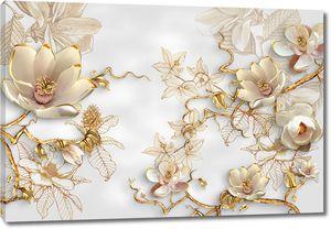 Хрупкие цветы на белом фоне
