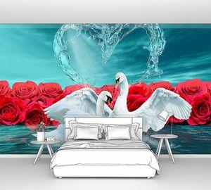 Белые лебеди с розами