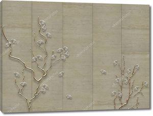 Ветки с цветами на бумажном фоне