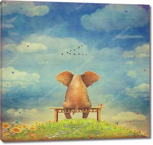 Грустно слон, сидя на скамейке на поляне